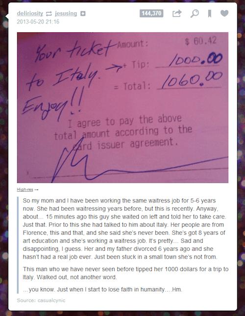 Propina de 1000 dolares